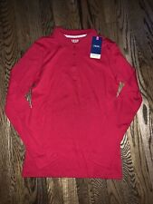 Nwt! Izod Girls Size 14/16 Red Long Sleeve School Uniform Polo Shirt