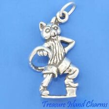 LARGE PUSS IN BOOTS CAT 3D .925 Solid Sterling Silver Charm Pendant