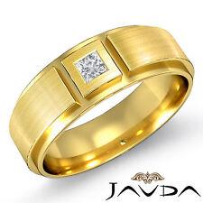 Solitaire Princess Diamond Ring 18k Yellow Gold 9mm Men Half Wedding Band 0.15Ct