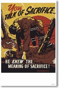 You Talk of Sacrifice -  Vintage WW2 Art Print   POSTER
