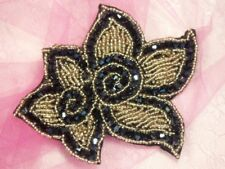 XR47~ BEADED APPLIQUE BLACK GOLD GLASS FLORAL  SEWING MOTIF PATCH 4.5""
