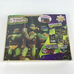 Nickelodeon Teenage Mutant Ninja Turtles 5 Wood Puzzle & Storage Wood Box, New