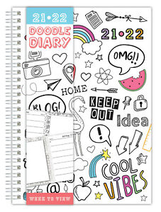 A5 2021-22 Academic Diary Week To View Wiro Doodle Sketch Book Journal To Colour