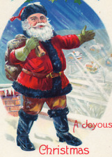 Christmas~HANDSOME SANTA ON ROOFTOP~HEAVY SNOWFALL~Stecher Antique Postcard