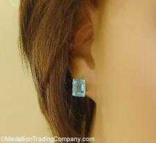 14k 5 Carat Emerald Rectangle Cut Swiss Blue Topaz Basket Set Solitaire Earrings