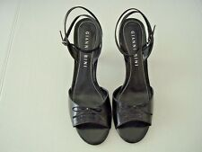 Gianni Bini Black Leather Shoes Heels Bow Ankle Strap Poetry 8.5 M