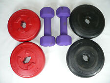 USED [2] 4.4LB WEIGHT PLATES & [2] 5LB PLATES WITH [2] 5LB COATED IRON DUMBELLS
