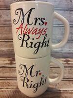 Wedding Gift for Mr Right & Mrs Always Right Nesting Coffee Mugs~Bride & Groom