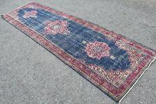 """Vintage Handmade Turkish Oushak Blue Office Runner Rug 11'2""""x3'2"""""""