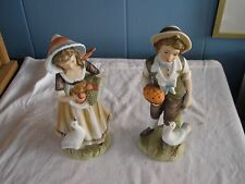 Lefton Figurines Boy with Pumpkin Pie Girl with Fruit Basket Goose 6988