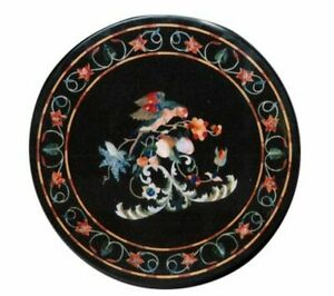 Black Marble Coffee Side Table Top Real Inlay Floral Arts Mosaic Patio Work Deco