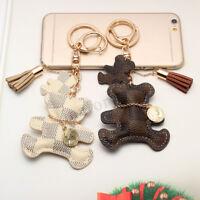 Cute Leather Bear With Tassel Style Purse Handbag Key Phone Chain Keyring Gift