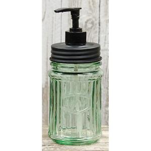 Green Glass Hoosier Soap Dispenser