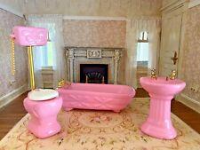 Vintage Miniature Dollhouse 1:12 Pink Porcelain Bathroom Sink Tub Toilet 1970s