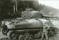 WW II Usa  Photo --  Knock Out Sherman Tank With Hole In Side