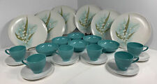24 Piece Vtg Melmac Prolon Leonora White And Turquoise Table Set, Plates, Cups.