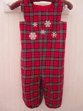 CHRISTMAS RED Tiny Bubbles brand Boutique Plaid Long Romper Snowflakes 3T  USA