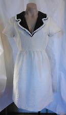 RARE 60s White w/Brown Collar w/White Beads Oscar de la Renta Dress w/ Belt SzS