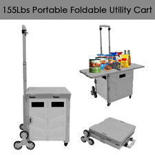 Foldable Utility Cart Ladder Wheel 55l Withsmall Table Cover Picnic Cart Graywhite