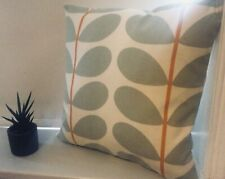 "Orla Kiely Hand Made Cushion Cover. Orange & Grey Multi Stem  16X16"" inch."