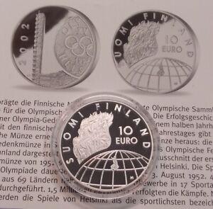 Finnland 10 Euro 2002 Olympische Spiele Helsinki 1952 PP, 27,4g 925er Silber (M3