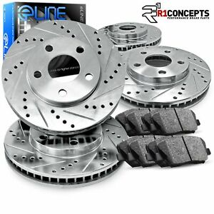 "Brake Rotors FRONT+REAR KIT ELINE ""DRILLED AND SLOTTED"" & CERAMIC PADS RA46057"