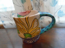 Damariscotta Pottery 2012 Signed Red Earthenware Clay Mug Maine Crackle Glaze!!!
