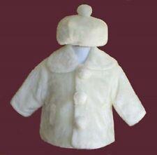 BABY INFANT TODDLER GIRLS HOLIDAY IVORY FAUX FUR JACKET COAT w/HAT SIZE 3T