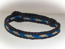 Braided Horse Hair Bracelet One Size Fits All White/Blue with Black Border