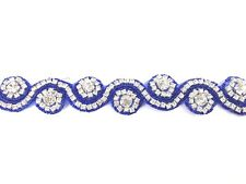 11'' Royal Blue Beautiful Bridal Rhinestone Belt Bridal Dress Lace, Trim