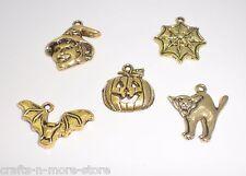 Gold Halloween Charms - Pumpkin, Bat, Cat, Witch, Spider Web