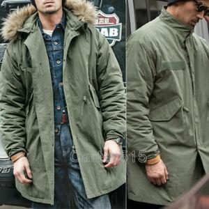 Men's M65 Fishtail Parka Windbreaker Winter Warm Removable Hooded Military Coat