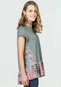 Matilda Jane 435 Slate Gray Floral Patchwork Pattern Short Sleeve Shirt Size 12