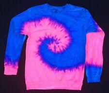 New Tie Dye Tye Die Blue Pink Long Sleeve Crew neck Sweatshirt Unisex Medium