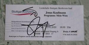 ORIGINAL Autogramm von Jonas Kaufmann. 100 % ECHT. Signiertes Ticket. MEIN WIEN