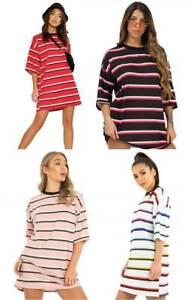 Womens Oversized Printed Stripe Baggy Boyfriend Casual Tshirt Rainbow Dress long
