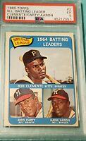 1965 Topps #2 Roberto Clemente, Hank Aaron, Rico Carty NL Batting Leaders PSA 5