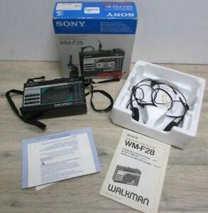 Vintage 1985 Sony Walkman WM-F28 FM/AM Stereo Cassette Player in Box Working