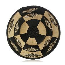 African Basket Butterfly Design Hand Woven Black Raffia Natural Grass w Banana
