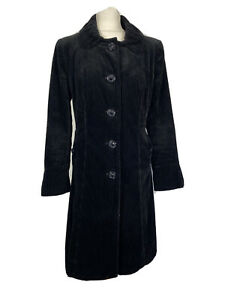 Per Una Black Cord Fitted 90s Boho Autumn Winter Long Line Coat Jacket Size 12