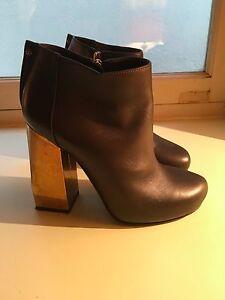 LANVIN blackish dark grey heel ankle leather dress bag heel BOOTS SHOES 38 US 8