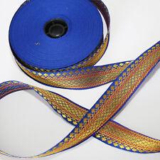 Bordure 1M Orient Lfm 28mm Bande Ruban Tissé Sari Coudre Bleu 2,8