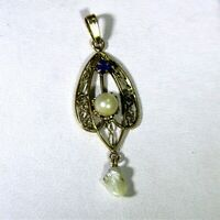 9ct 9k Gold Pearl Sapphire Paste Lavalier Pendant