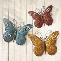 Wall Art Trio Butterfly Nature Inspired Metal Indoor Outdoor  Rustic Decor