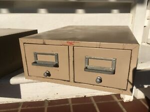 VINTAGE MID CENTURY METAL GWS CARD CATALOG 2-DRAWER FILE FILING CABINET 2+ AVAIL
