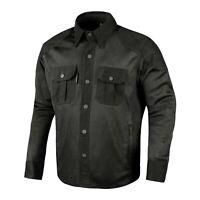 Mens Biker Motorcycle Shirt Mesh Cotton Rider Jacket Black XXXL Made with Kevlar