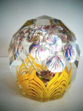Antique CZECH Bohemian Art Glass Faceted Lampwork FLOWER Paperweight