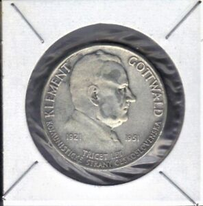1951 CZECHOSLOVAKIA 100 KORUN KLEMENT GOTTWALD Commparty  SILVER COIN KM#33 UNC
