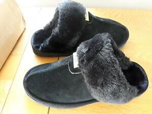 Womens UGG Slippers Black Suede Faux Fur size 6M approx UK 5 / 5.5 bnib