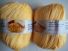 Wisful 6-ply silky baby yarn, Yellow (#3), lot of 2 (216 yds each)